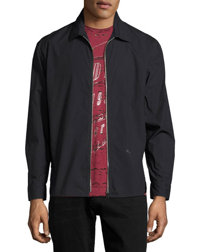 S-Nigel Zip-Front Shirt Jacket, Black