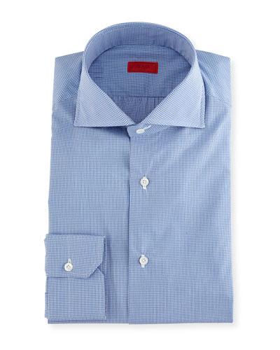 Slim-Fit Gingham Check Dress Shirt, Blue