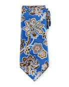 Silk Satin Floral Tie, Blue