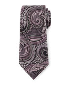 Floral Paisley Silk Tie, Gray/Pink