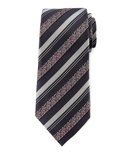 Satin Floral Striped Tie, Gray