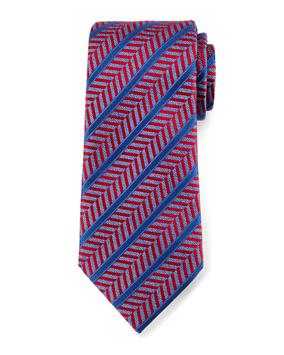 Herringbone Satin-Stripe Tie, Red