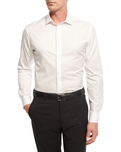 Diamond-Textured Formal Shirt, White