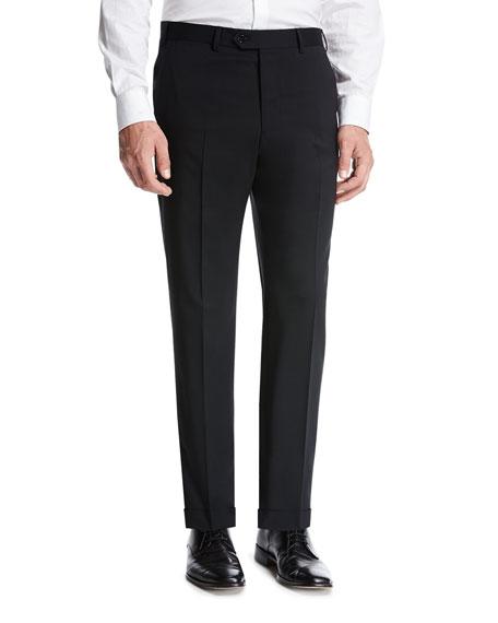 Giorgio Armani Basic Wool Flat-Front Trousers, Black
