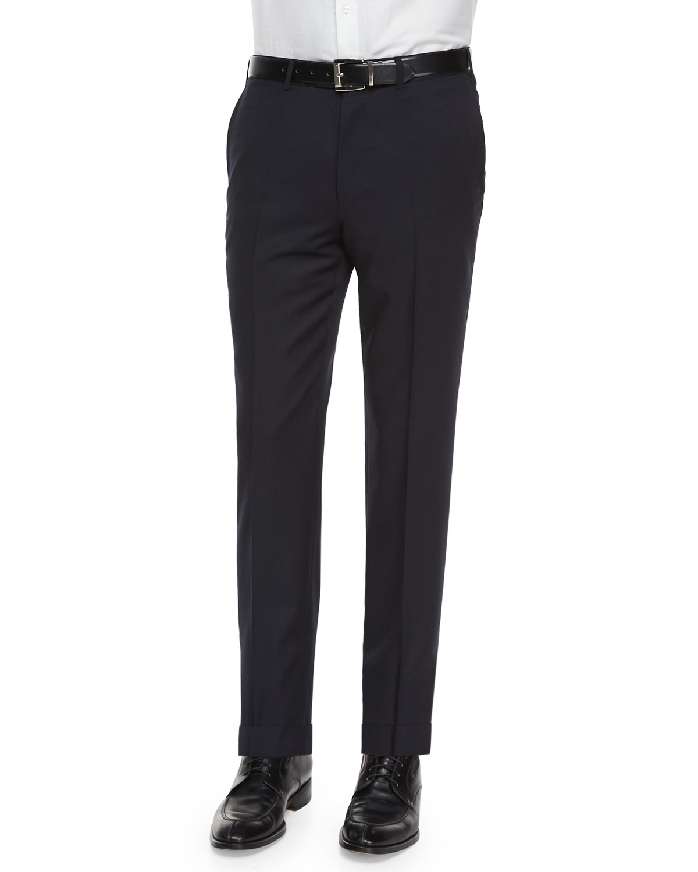 Flat-Front Wool Regular Fit Dress Pants