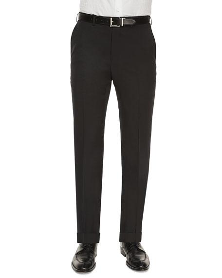 Ermenegildo Zegna Flat-Front Wool Regular-Fit Trousers, Black