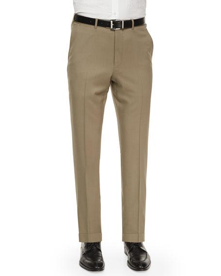Ermenegildo Zegna Flat-Front Wool Regular-Fit Trousers, Taupe