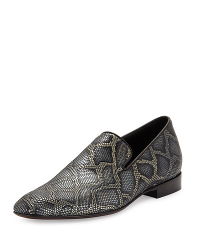 Men's Pazano Python-Embossed Leather Formal Loafer, Black