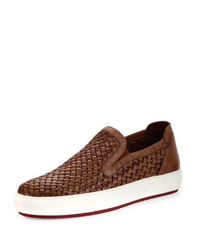 Clark Men's Woven Leather Slip-On Sneaker, Brown