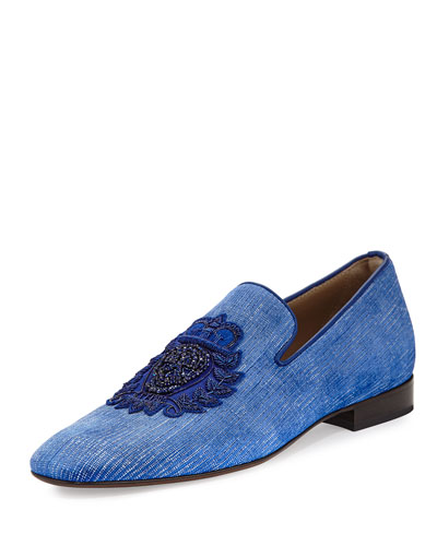 Men's Pazano Linen Formal Loafer with Embellished Crest, Blue