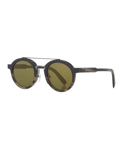 Universal-Fit Classic Logo Round Sunglasses, Black