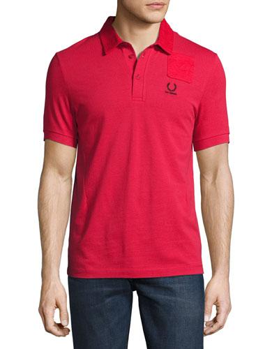 x Raf Simons Denim Pocket Polo Shirt, Red
