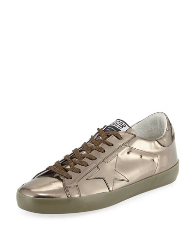 Superstar Men's Metallic Leather Low-Top Sneaker, Gunmetal