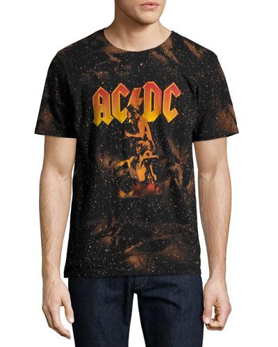 AC/DC Bonfire T-Shirt with Marbling, Black