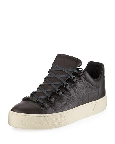 Men's New Arena Leather Low-Top Sneaker, Gray