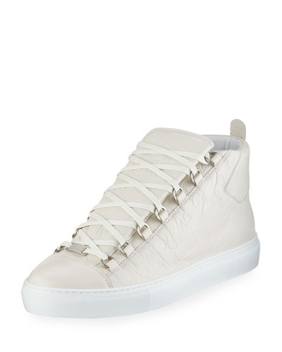 Men's Arena Leather High-Top Sneaker, White