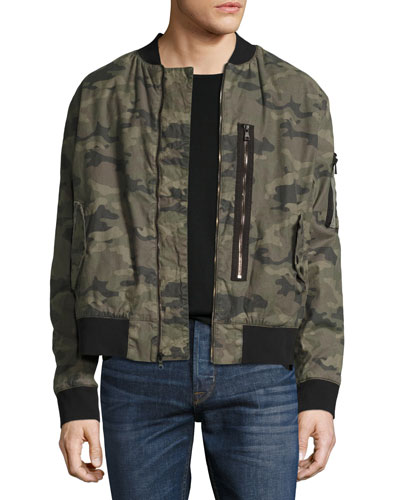 Camo Puffy Bomber Jacket, Green