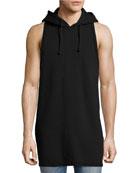 Men's Sleeveless Pullover Hoodie, Black