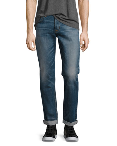 Blake Double-Cuff Slim-Straight Jeans, Blue