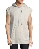 Cutoff-Sleeve Pullover Hoodie, Gray