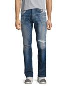 Hudson Blake Slim-Straight Distressed Jeans, Blue
