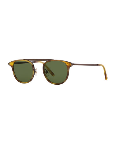 Van Buren Combo 46 Round Aviator Sunglasses, Pinewood Gold/Pure Green