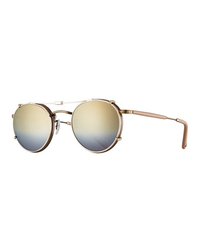 Wilson Round Sunglasses, Gold/Gold Mirage Mirror