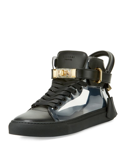 Men's 100mm Leather & PVC Mid-Top Sneaker, Black