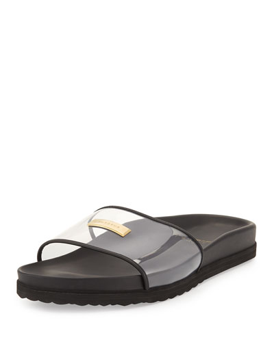 Men's Crystal Pool Slide Sandal, Black