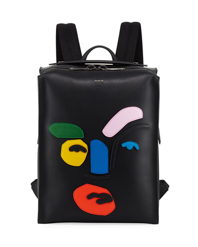 Face Calf Leather Backpack, Multicolor
