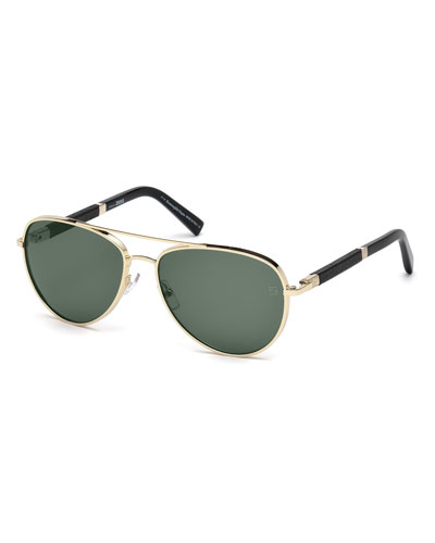 Metal Aviator Sunglasses, Pale Gold/Black