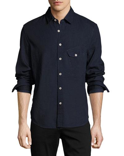 Nep Woven Sport Shirt, Blue