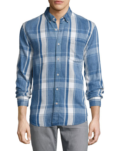 Washed Plaid Denim Shirt, Blue