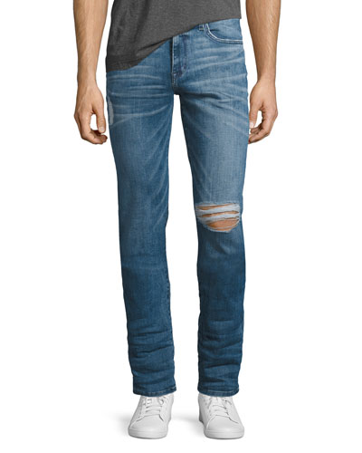 The Slim-Fit Distressed Jeans, Doss (Blue)