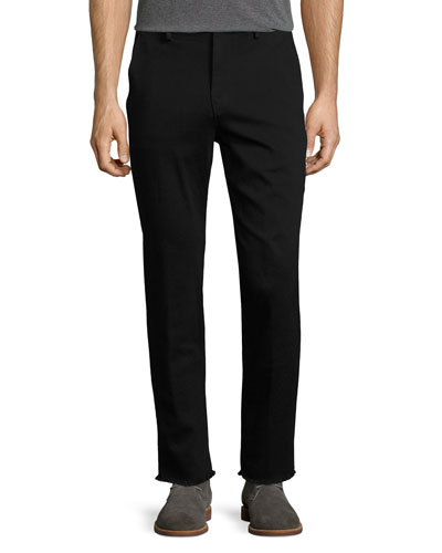 Soder Slim-Straight Chino Pants with Cut Hem, Black