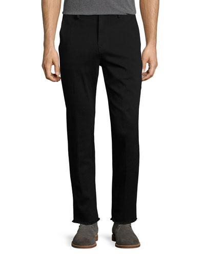 Soder Slim-Straight Chino Pants with Cut Hem, Black