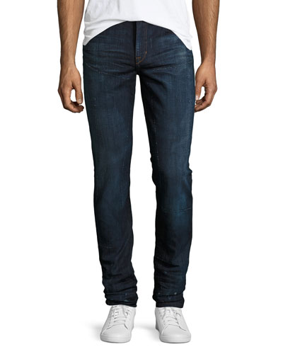 The Slim-Fit Distressed Jeans, Williams (Blue)