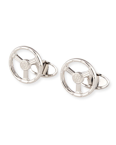 Sterling Silver Steering Wheel Cuff Links
