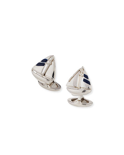 Rhodium-Plated Sterling Silver Sailboat Cuff Links