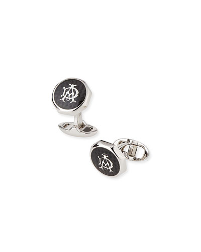 Octagonal AD Cuff Links, Silver/Black