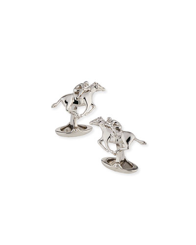 Rhodium-Plated Sterling Silver Racing Horse Cuff Links