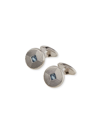Rhodium-Plated Art Deco Cuff Links with Topaz Insets, Blue