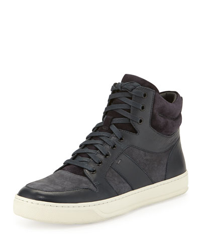 Adam Men's Leather High-Top Sneaker, Blue