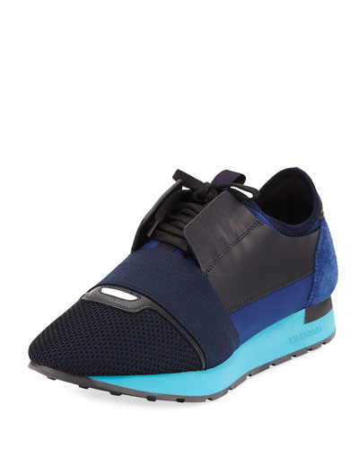 Race Men's Mesh & Leather Trainer Sneaker, Dark Blue