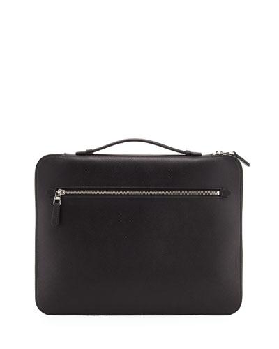 Cadogan Leather Zip Laptop Folio Case, Black