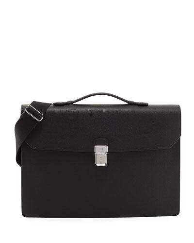 Cadogan Leather Flap Briefcase, Black