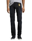 Distressed Moto Skinny Jeans, Black-Blue