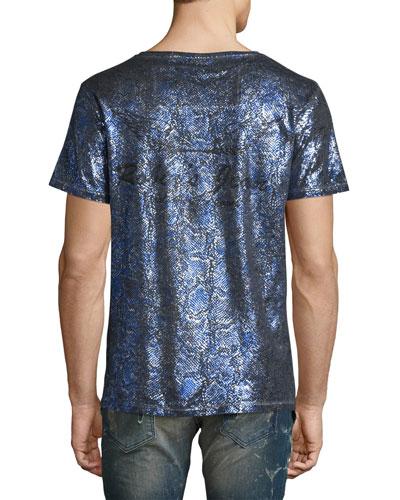 Painted Crewneck T-Shirt, Blue/Silver