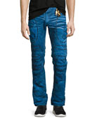 Embellished & Distressed Moto Skinny Jeans, Blue