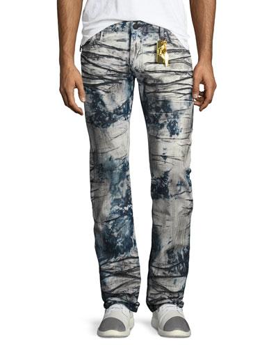 Heavy-Dyed Skinny Moto Jeans, Indigo/Black/White